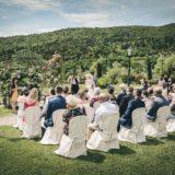 Garden villa wedding Italy. Setting for the outdoor ceremony in the villa garden.