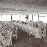 Exclusive weddings villa Italy Wedding Baroncino,the glass windowed marquee, ready for the wedding reception.