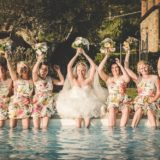 Pool Wedding Ideas. Funny moment by the pool, bride and bridesmaids.