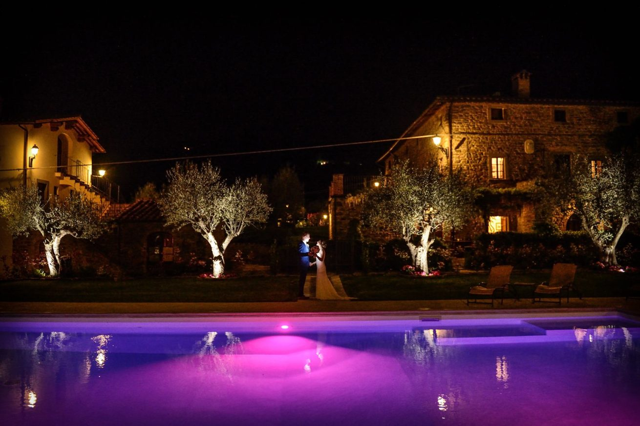 Exclusive weddings villa Italy, Pool at night time with inside the water coloured lighting effect.