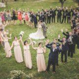 Italy villa sleeps 40 50 people group photo in a heart shape in the Weddings Italy garden at villa Baroncino
