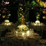 Marquee wedding ideas. Night garden wedding at Villa San Crispolto