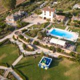 Outdoor Wedding Villa Italy. Villa Baroncino by the drone. Pool Wedding ideas.