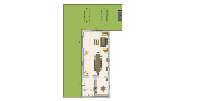 Communal Area – living area, dining room and kitchen. wedding accommodation italy.