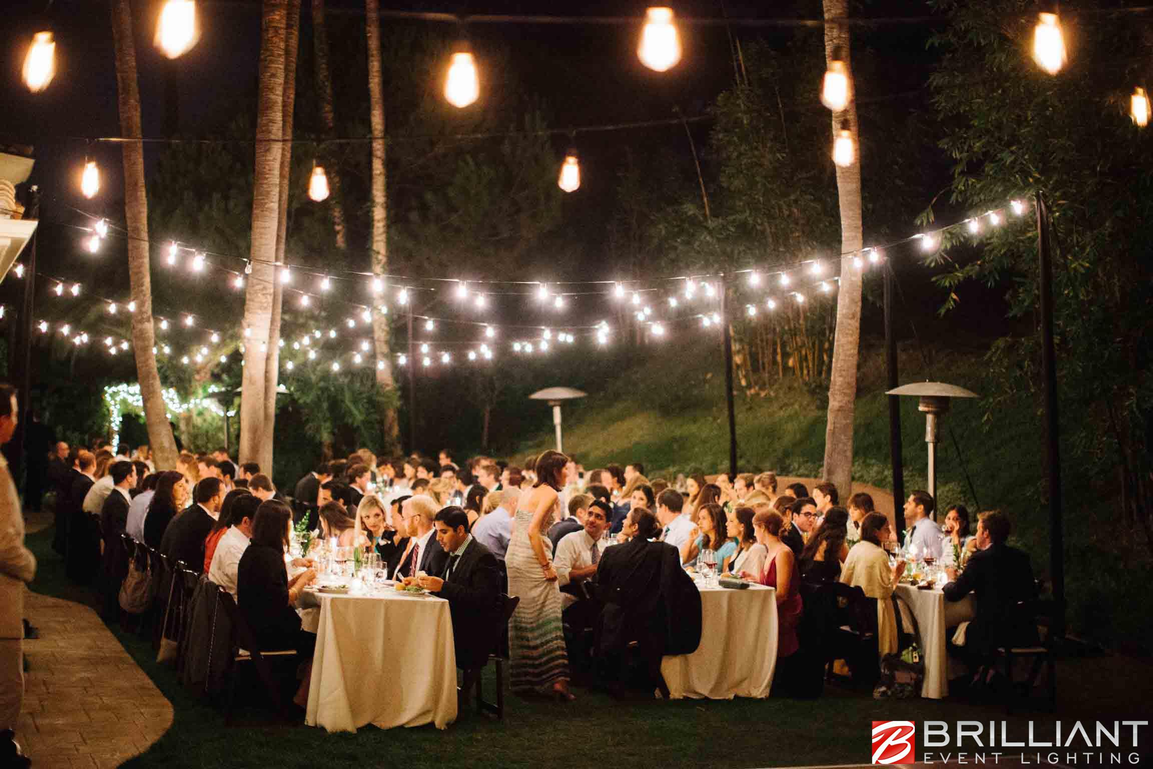 Italy Wedding Outdoor Reception Decorations, lighting. Villa Baroncino