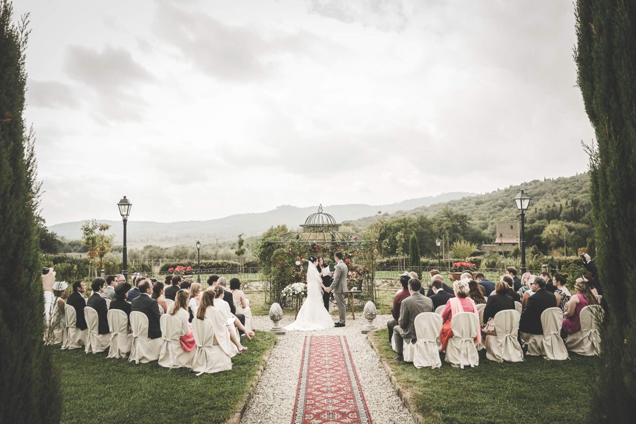 Outdoor Wedding Villa Italy. A nice view of a legally binding ceremony at Villa Baroncino.