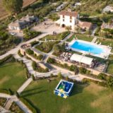 Outdoor Wedding Villa Italy. Villa Baroncino by the drone. Pool Wedding ideas.