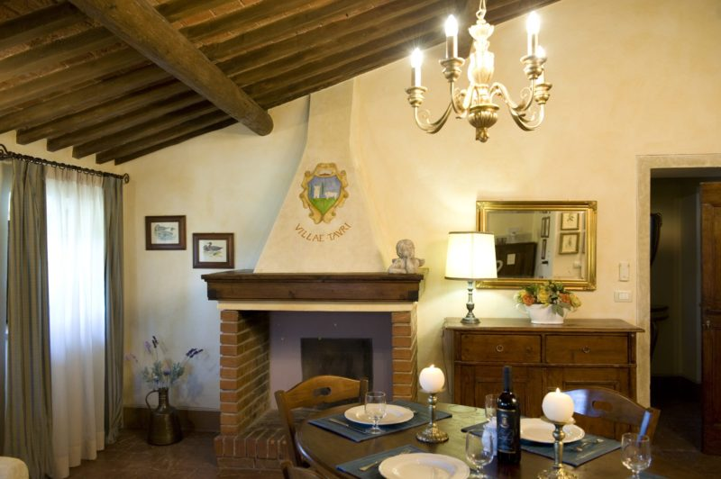 wedding apartment villas. A detail of the antique fireplace in Villa 8